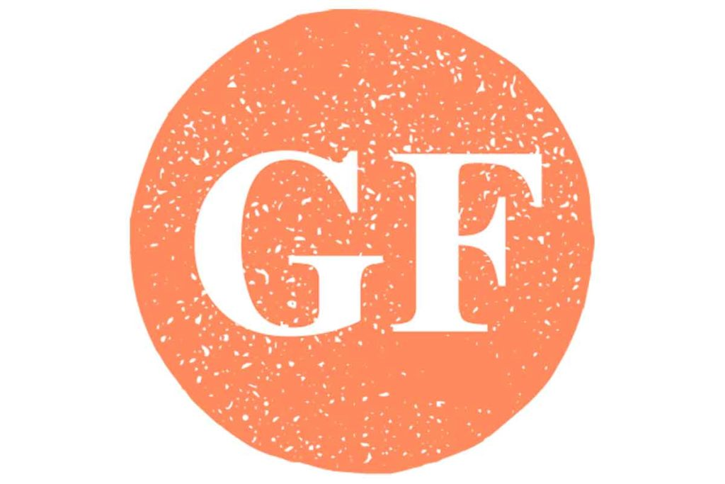 A g and an f in an orange circle