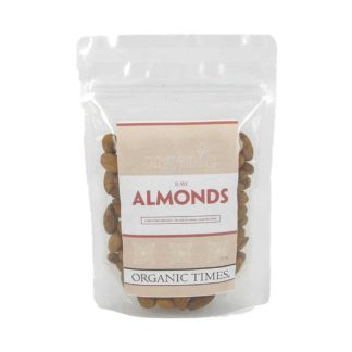 a packet of organic times Australian raw almonds