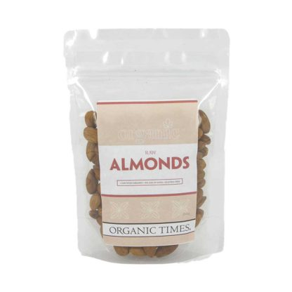 a packet of organic times Australian raw almonds