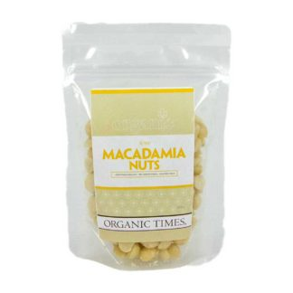 a packet of organic times Australian raw macadamia nuts
