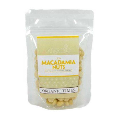 a packet of organic times Australian raw macadamia nuts