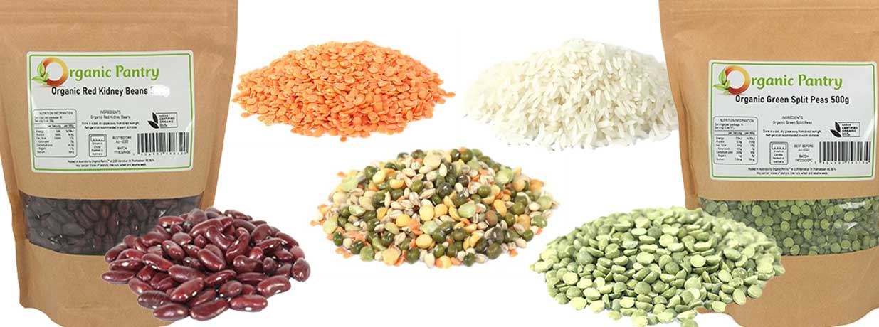 organic beans rice lentils