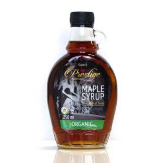 a jar of organic maple syrup