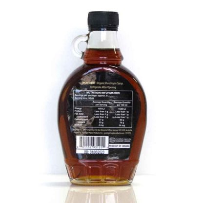 a jar of organic maple syrup