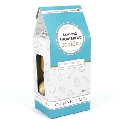 a box of organic times almond shortbread cookies