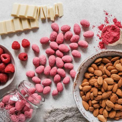 almonds, raspberries, white chocolate and pink almonds