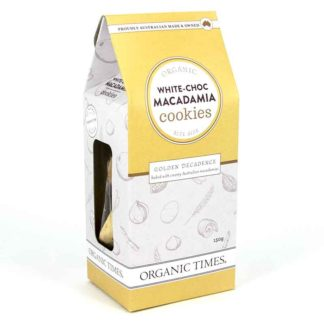 a box of organic times white choc macadamia cookies