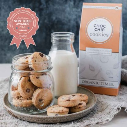 Organic Times Choc Chip cookies award badge