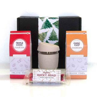 Christmas hamper with chocolate cookies and coffee cup