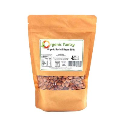 a bag of organic borlotti beans