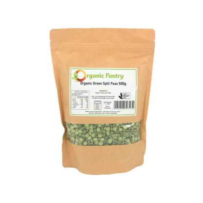 a bag of organic green split peas